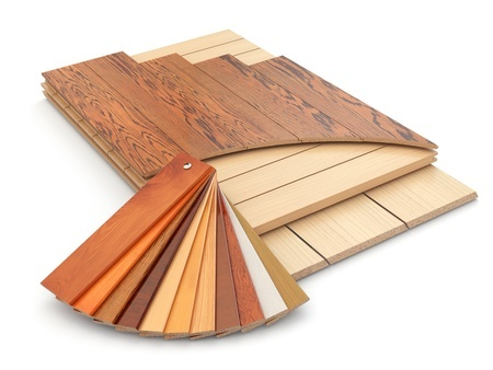 21858452 - installing laminate floor and wood samples. 3d